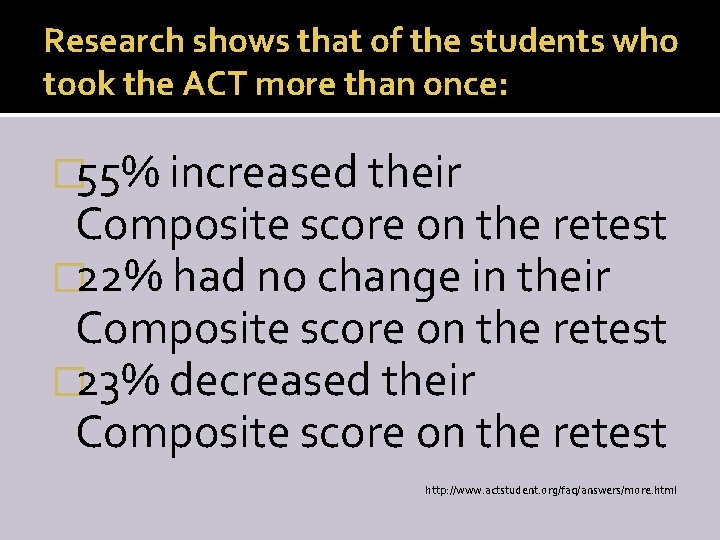 Research shows that of the students who took the ACT more than once: �