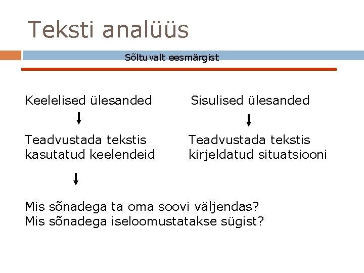 Teksti analüüs Sõltuvalt eesmärgist Keelelised ülesanded Sisulised ülesanded Teadvustada tekstis kasutatud keelendeid Teadvustada tekstis