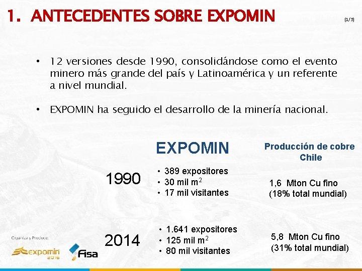 1. ANTECEDENTES SOBRE EXPOMIN (1/3) • 12 versiones desde 1990, consolidándose como el evento