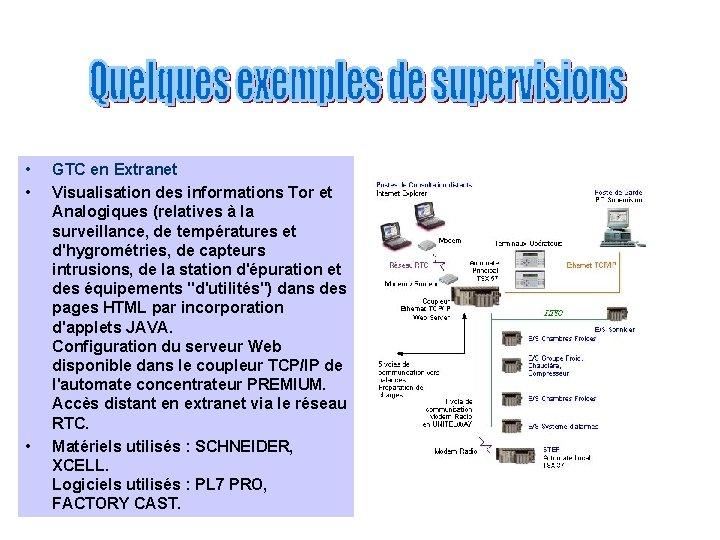 • • • GTC en Extranet Visualisation des informations Tor et Analogiques (relatives