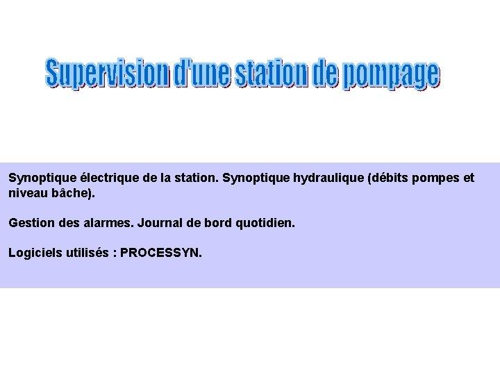 Synoptique électrique de la station. Synoptique hydraulique (débits pompes et niveau bâche). Gestion des