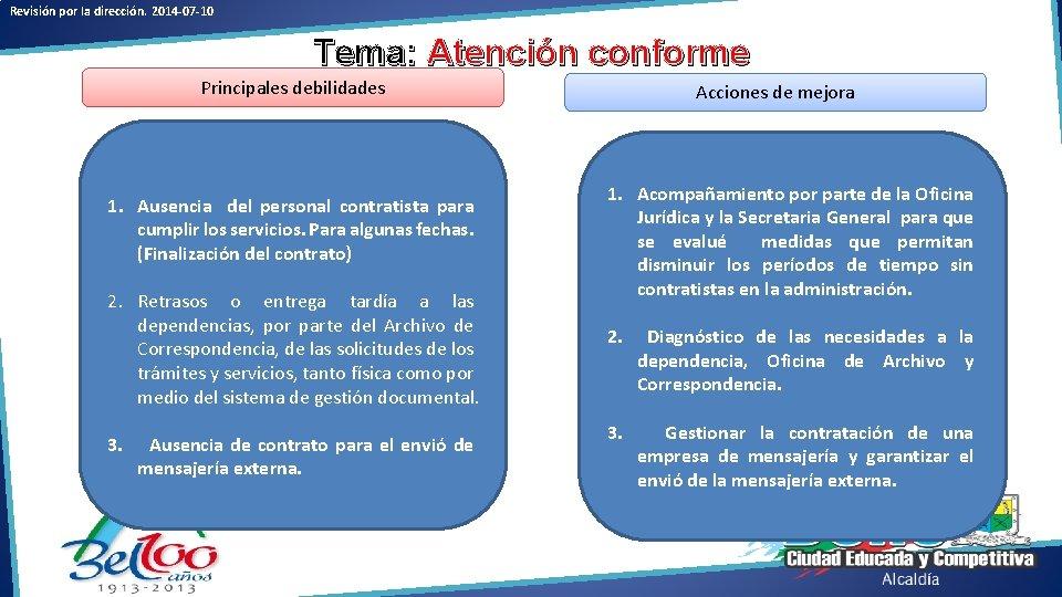 Revisión por la dirección. 2014 -07 -10 Tema: Atención conforme Principales debilidades 1. Ausencia
