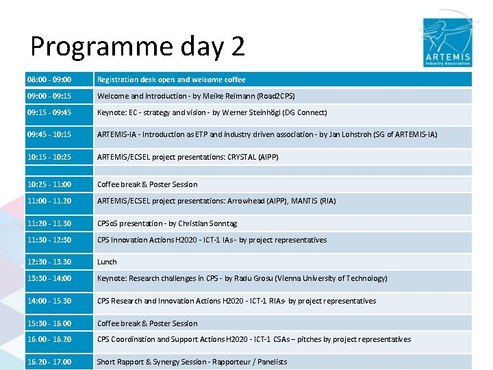 Programme day 2 08: 00 - 09: 00 Registration desk open and welcome coffee
