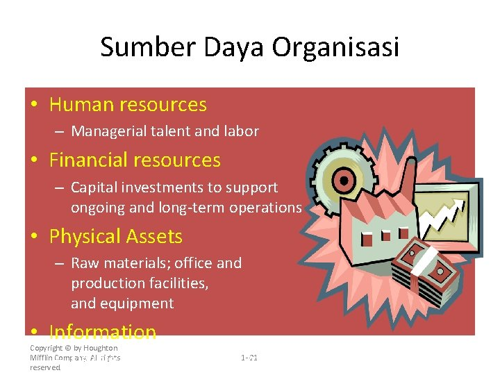 Sumber Daya Organisasi • Human resources – Managerial talent and labor • Financial resources