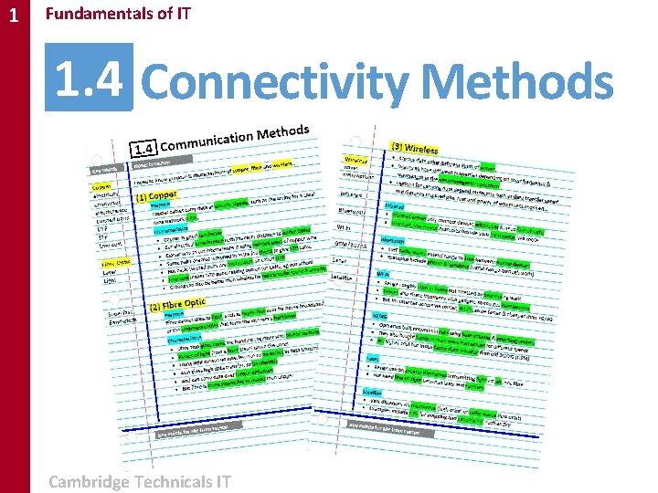 1 Fundamentals of IT 1. 4 Connectivity Methods Cambridge Technicals IT
