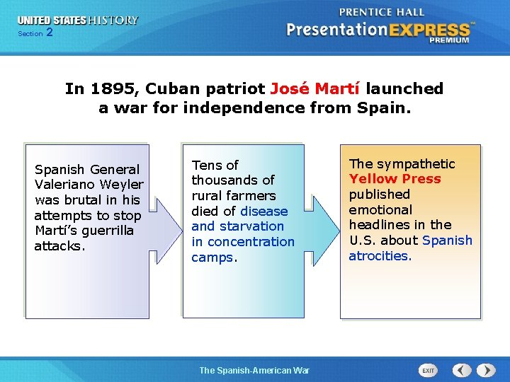 Section 2 In 1895, Cuban patriot José Martí launched a war for independence from