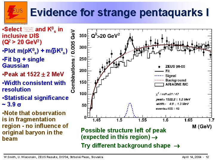 Evidence for strange pentaquarks I • Select and K 0 s in inclusive DIS