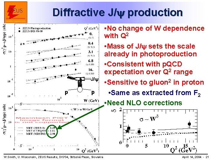 Diffractive J/ production J/ p p W. Smith, U. Wisconsin, ZEUS Results, DIS' 04,