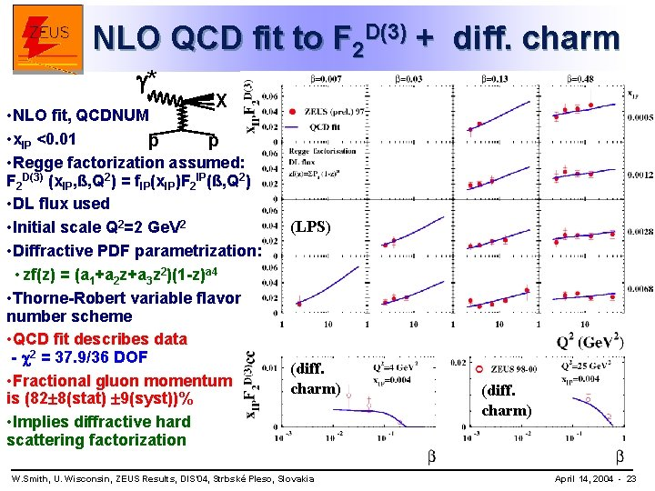 NLO QCD fit to F 2 D(3) + diff. charm * X • NLO