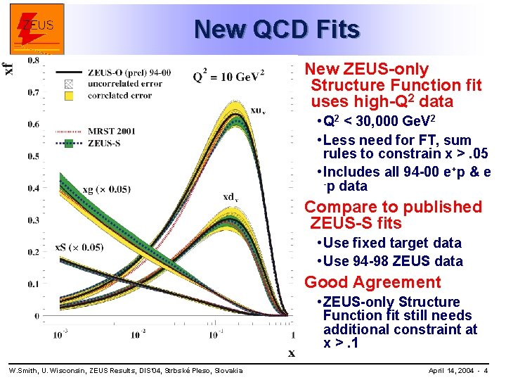New QCD Fits New ZEUS-only Structure Function fit uses high-Q 2 data • Q