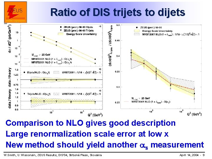 Ratio of DIS trijets to dijets Comparison to NLO gives good description Large renormalization