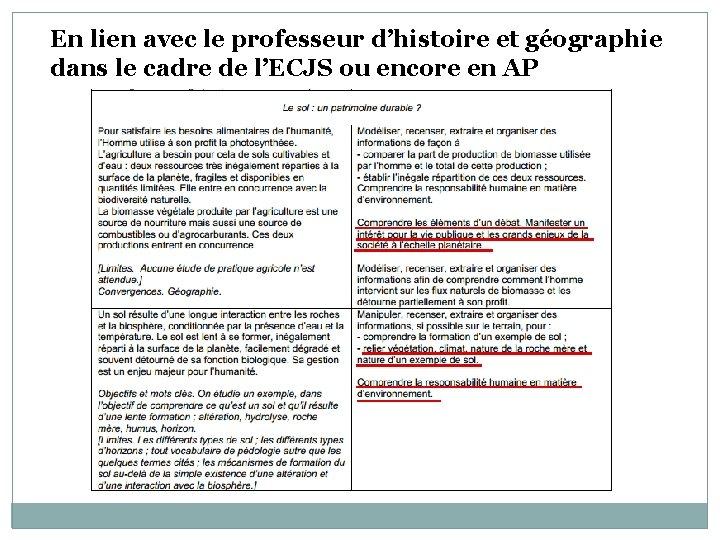 En lien avec le professeur d'histoire et géographie dans le cadre de l'ECJS ou