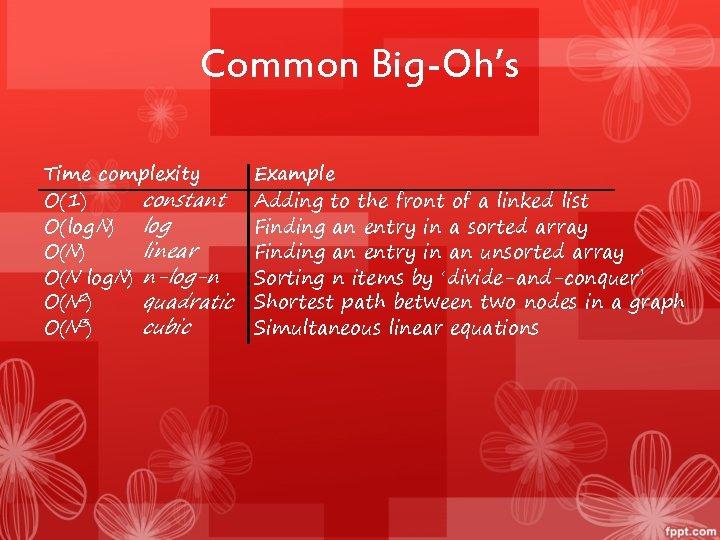 Common Big-Oh's Time complexity constant O(1) O(log N) log linear O(N) O(N log. N)