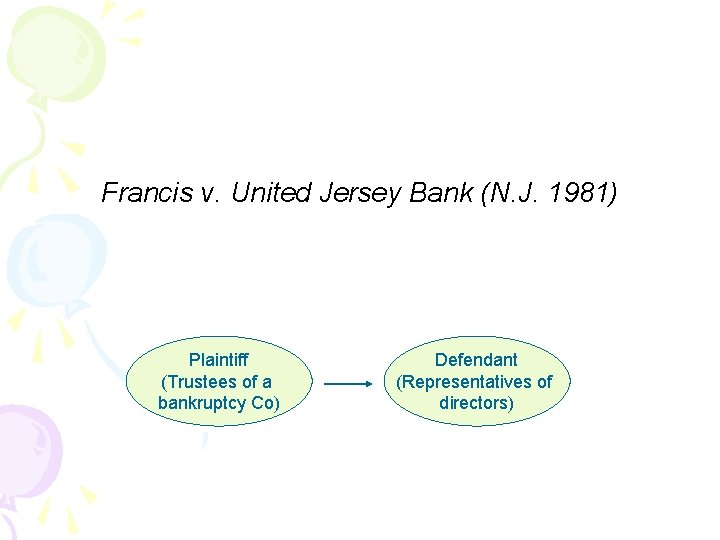 Francis v. United Jersey Bank (N. J. 1981) Plaintiff (Trustees of a bankruptcy Co)