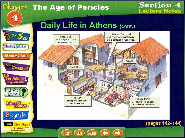 The Age of Pericles Daily Life in Athens (cont. ) (pages 142– 144)