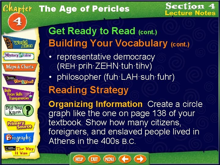 The Age of Pericles Get Ready to Read (cont. ) Building Your Vocabulary (cont.