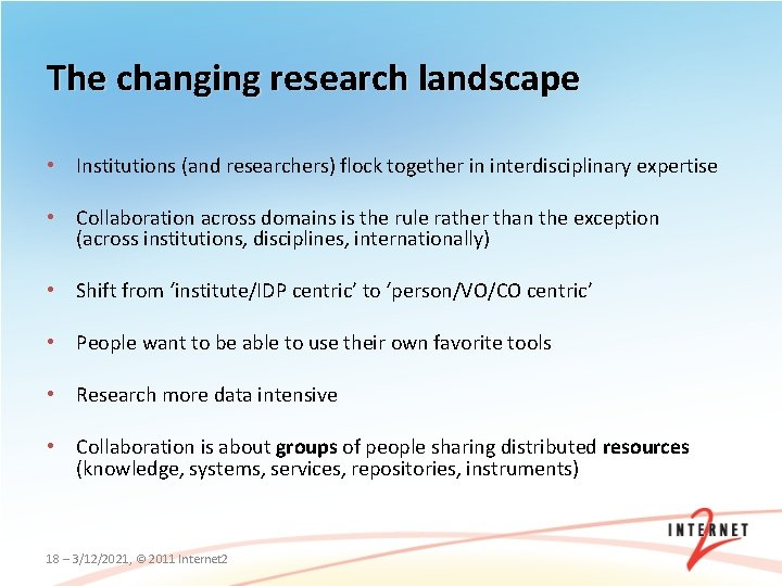 The changing research landscape • Institutions (and researchers) flock together in interdisciplinary expertise •