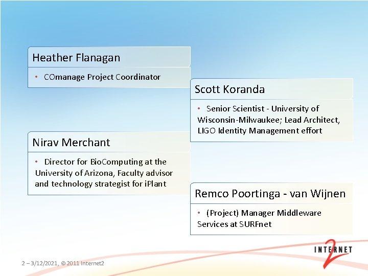 Heather Flanagan • COmanage Project Coordinator Nirav Merchant • Director for Bio. Computing at