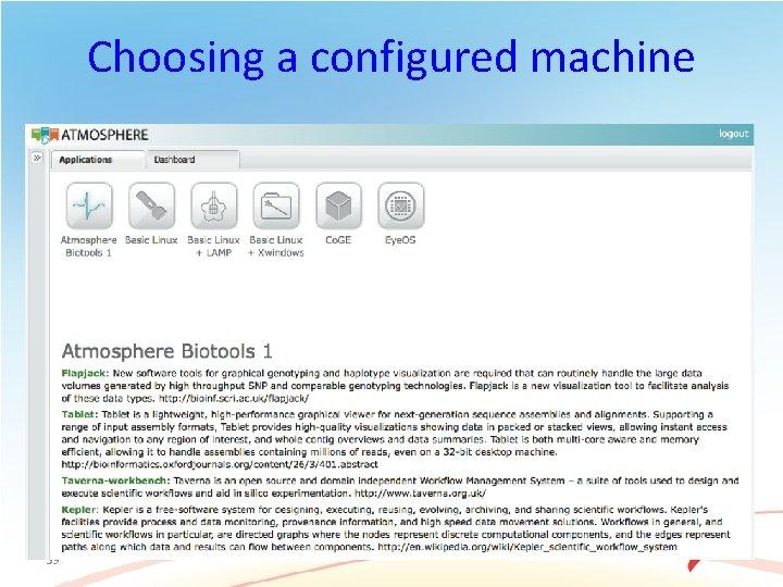 Choosing a configured machine 59