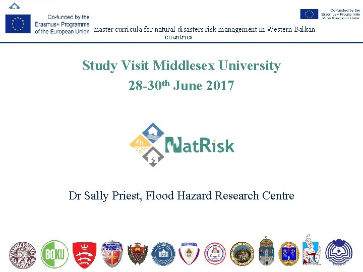 Development of master curricula for natural disasters risk management in Western Balkan countries Study