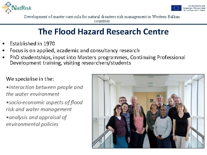 Development of master curricula for natural disasters risk management in Western Balkan countries The