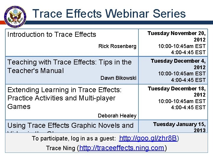Trace Effects Webinar Series Introduction to Trace Effects Rick Rosenberg Teaching with Trace Effects: