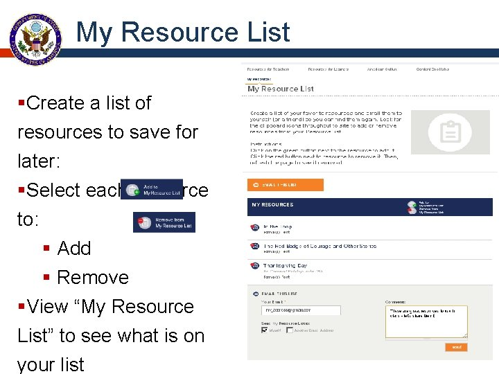 My Resource List §Create a list of resources to save for later: §Select each