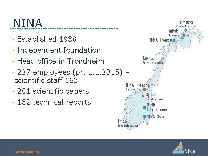 NINA • Established 1988 • Independent foundation • Head office in Trondheim • 227