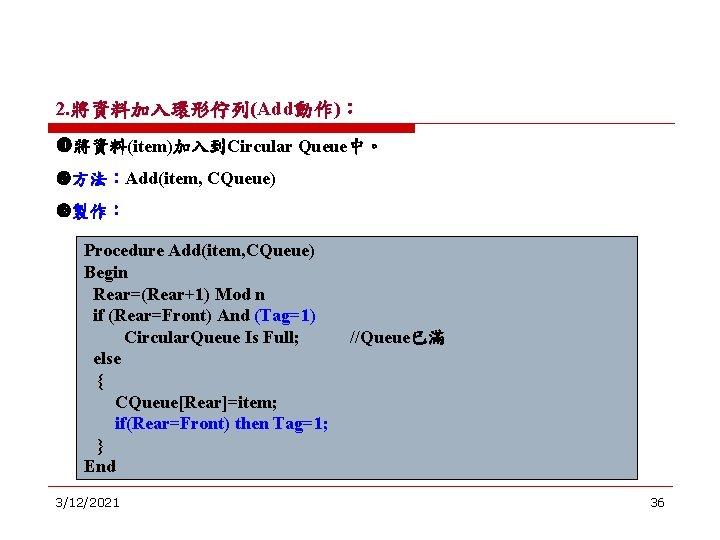 2. 將資料加入環形佇列(Add動作): 將資料(item)加入到Circular Queue中。 方法:Add(item, CQueue) 製作: Procedure Add(item, CQueue) Begin Rear=(Rear+1) Mod n