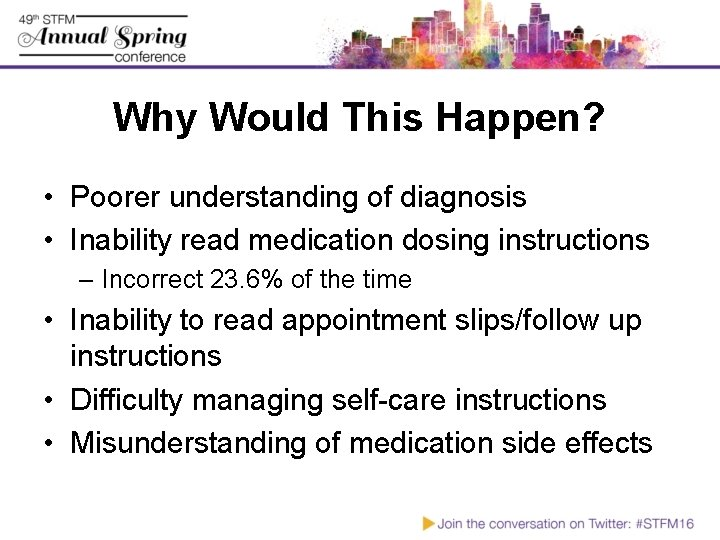 Why Would This Happen? • Poorer understanding of diagnosis • Inability read medication dosing