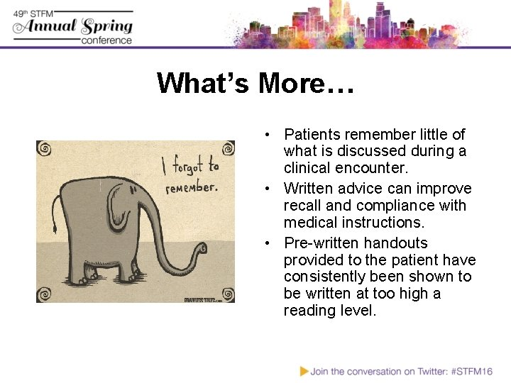 What's More… • Patients remember little of what is discussed during a clinical encounter.