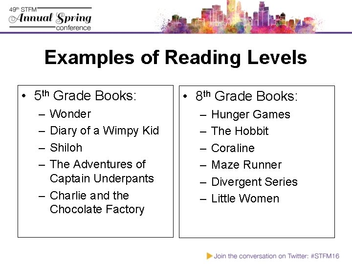 Examples of Reading Levels • 5 th Grade Books: – – Wonder Diary of