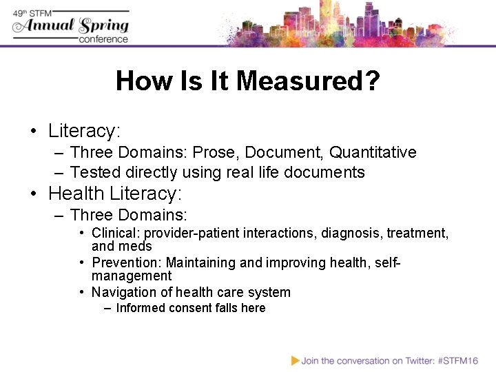 How Is It Measured? • Literacy: – Three Domains: Prose, Document, Quantitative – Tested