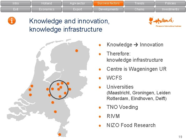 Intro Holland Agri-sector Success factors Trends Policies Exit Economics Export Developments Chains Investments Knowledge