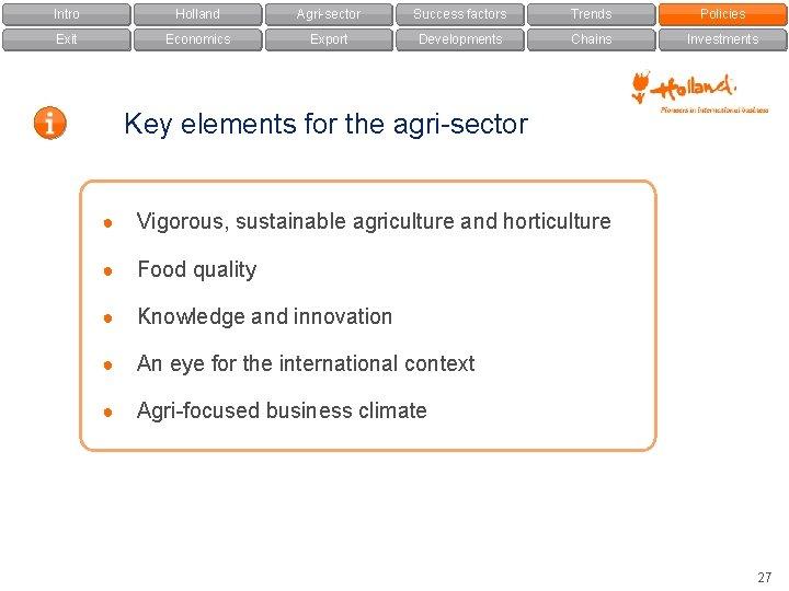 Intro Holland Agri-sector Success factors Trends Policies Exit Economics Export Developments Chains Investments Key