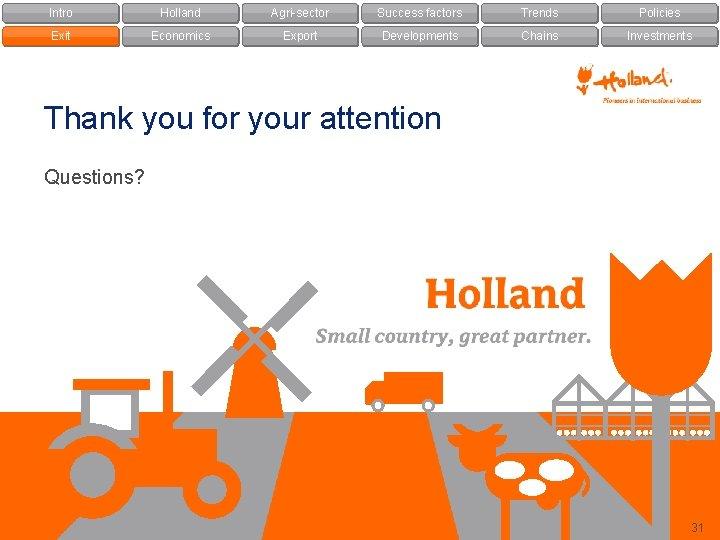 Intro Holland Agri-sector Success factors Trends Policies Exit Economics Export Developments Chains Investments Thank