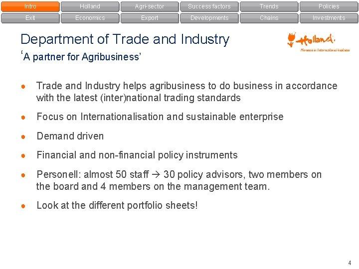 Intro Holland Agri-sector Success factors Trends Policies Exit Economics Export Developments Chains Investments Department
