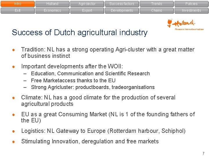 Intro Holland Agri-sector Success factors Trends Policies Exit Economics Export Developments Chains Investments Success