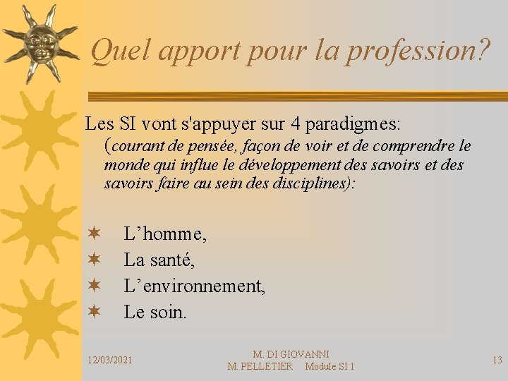Quel apport pour la profession? Les SI vont s'appuyer sur 4 paradigmes: (courant de