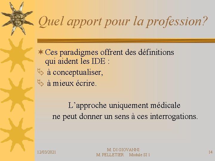 Quel apport pour la profession? ¬ Ces paradigmes offrent des définitions qui aident les