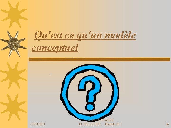Qu'est ce qu'un modèle conceptuel . 12/03/2021 M. DI GIOVANNI M. PELLETIER Module