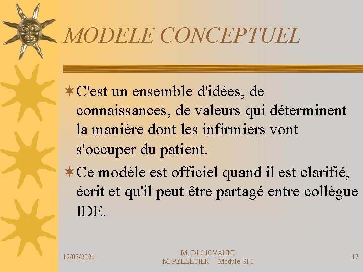 MODELE CONCEPTUEL ¬C'est un ensemble d'idées, de connaissances, de valeurs qui déterminent la manière