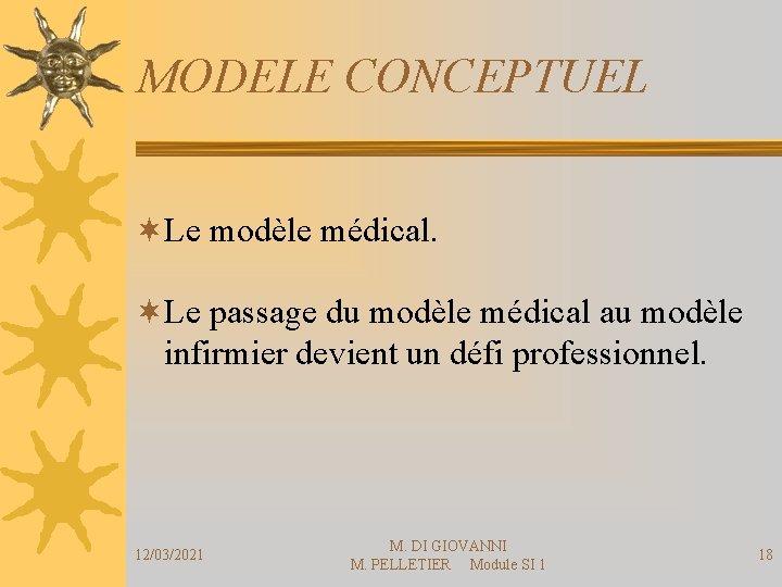 MODELE CONCEPTUEL ¬Le modèle médical. ¬Le passage du modèle médical au modèle infirmier devient
