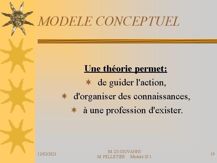 MODELE CONCEPTUEL Une théorie permet: ¬ de guider l'action, ¬ d'organiser des connaissances, ¬