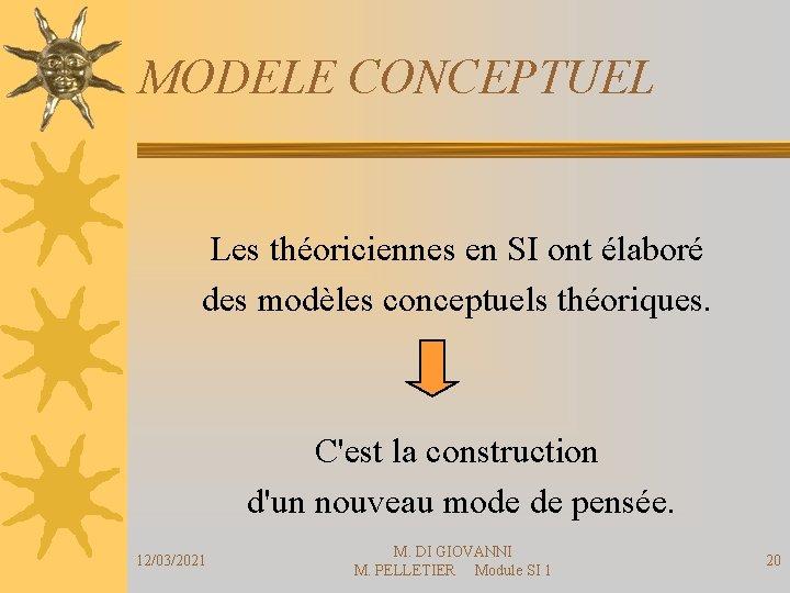 MODELE CONCEPTUEL Les théoriciennes en SI ont élaboré des modèles conceptuels théoriques. C'est la