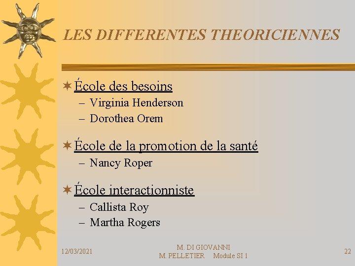 LES DIFFERENTES THEORICIENNES ¬ École des besoins – Virginia Henderson – Dorothea Orem ¬