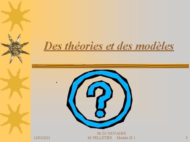 Des théories et des modèles. 12/03/2021 M. DI GIOVANNI M. PELLETIER Module SI