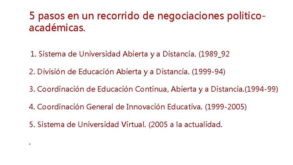 5 pasos en un recorrido de negociaciones politicoacadémicas. 1. Sistema de Universidad Abierta y