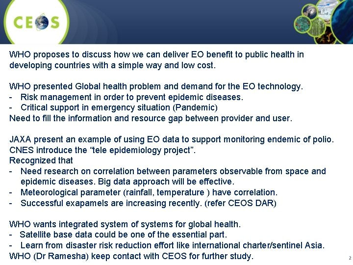 WHO proposes to discuss how we can deliver EO benefit to public health in
