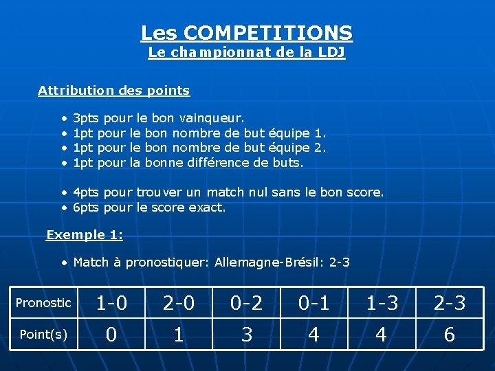 Les COMPETITIONS Le championnat de la LDJ Attribution des points • • 3 pts